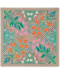 Gucci - New Flora Print Gg Silk Scarf - Lyst