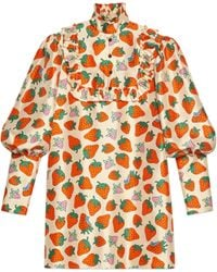 70a1d5c6 Gucci - Silk Top With Strawberry Print - Lyst