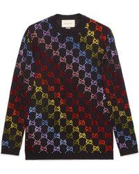 Gucci - Wool Jumper With GG Rhinestone Motif - Lyst