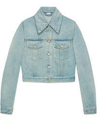 Gucci - Giacca in denim con patch - Lyst