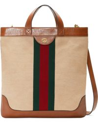 Gucci - Borsa shopping in tessuto effetto vintage misura grande - Lyst