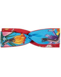 Gucci - Flora Snake Print Headband - Lyst