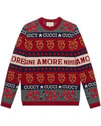 Gucci - Maglione in lana jacquard con simboli - Lyst