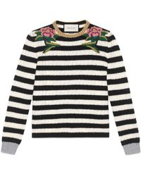 Gucci - Embroidered Merino Cashmere Knitted Top - Lyst