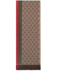 Gucci - GG Jacquard Knitted Scarf With Web - Lyst