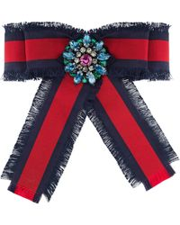 Gucci - Web Grosgrain Bow Brooch - Lyst
