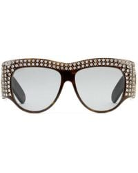 Gucci - Oversize Acetate Sunglasses With Crystals - Lyst