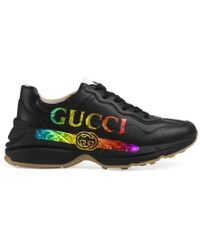 Gucci - Rhyton Leather Trainer With Logo - Lyst