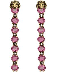 Gucci - Lion Head Earring With Crystals - Lyst
