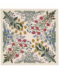 Gucci | New Flora Print Silk Carre | Lyst