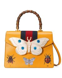 0c0cff02742 Gucci Small Falena Moth Top Handle Leather Satchel in Red