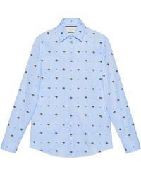 Gucci - Hemd aus Fil Coupé mit UFO- und Symbole-Motiv - Lyst