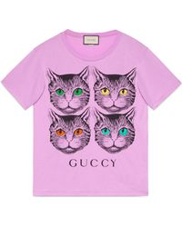 Gucci - Oversize T-shirt With Mystic Cat - Lyst