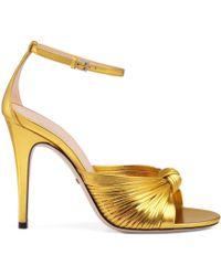 7b4c87df210 Lyst - Gucci Snake Mid-heel Studded Sandal in Metallic