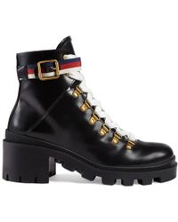 Gucci - Leather Ankle Boot With Sylvie Web - Lyst