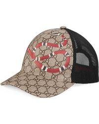 Gucci - Cappellino da baseball GG Supreme con stampa serpente - Lyst