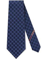 Gucci Cravatta a motivo Doppia G - Blu