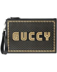 Gucci - Guccy Leather Pouch - Lyst