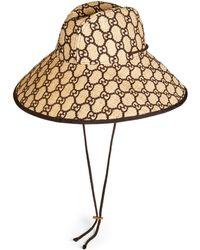 Gucci - Cappello a falda larga in rafia GG - Lyst