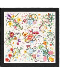Gucci - Flora Snake Print Silk Scarf - Lyst