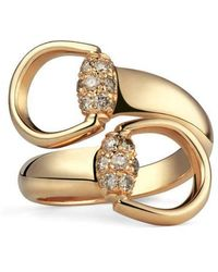 Gucci - Gold Ring With Brown Diamonds - Lyst