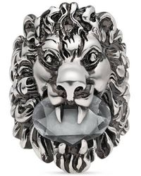 Gucci - Lion Head Ring With Crystal - Lyst