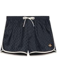 Gucci - Gg Nylon Swim Short With Bee - Lyst
