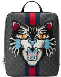 Gucci - Gg Supreme Backpack With Angry Cat - Lyst