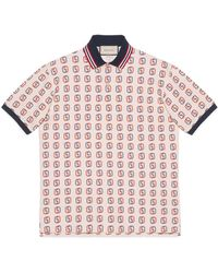 f3805b3331a Lyst - Gucci Interlocking G Patch Short Sleeve Polo in Black for Men