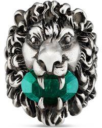Gucci - Bague tête de lion avec cristal - Lyst