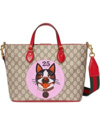 3103da1bdb46 Gucci Gg Supreme Top Handle Bag in Brown - Lyst
