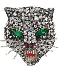 Gucci - Crystal Cat Head Brooch - Lyst