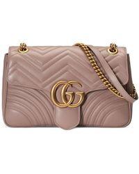 3912fc636 Gucci GG Marmont Matelassé Leather Shoulder Bag in Pink - Lyst