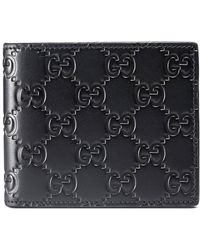 023e46f4 GUCCI Gucci Signature Leather Card Case Black Gucci Signature