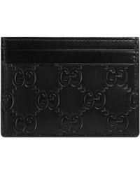 9dc144fa710b Gucci Swing Leather Card Case in Black - Lyst