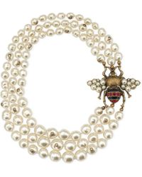 Gucci - Glass Pearl Necklace With Bee - Lyst