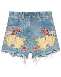 Gucci | Embroidered Denim Short | Lyst