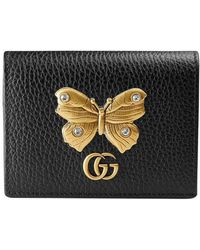 Gucci | Leather Card Case With Butterfly | Lyst