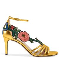 Gucci - Embroidered Metallic Gold Sandal - Lyst