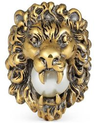 Gucci - Lion Head Ring With Glass Pearl - Lyst