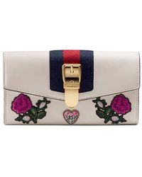 Gucci - Sylvie Embroidered Leather Continental Wallet - Lyst
