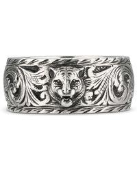 Gucci - Thin Silver Ring With Feline Head - Lyst