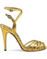 f2fd0f3f03a Lyst - Gucci Embroidered Leather Sandal in Metallic