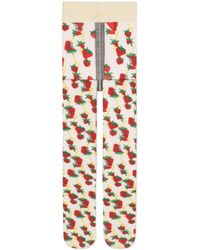 Gucci Tights With Strawberry And Horsebit Print