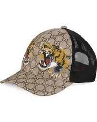Gucci Baseballkappe aus GG Supreme mit Tiger-Print - Natur