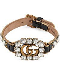 Gucci - Doppel G Armband aus Leder - Lyst