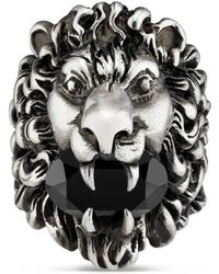 57de3ae656c Lyst - Gucci Lion Head Ring in Metallic for Men