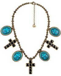 Gucci - Necklace With Cameo And Cross Pendants - Lyst