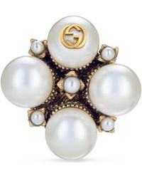 Gucci - Textured Ring With Glass Pearl Buds - Lyst