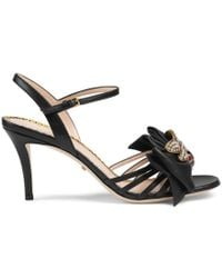 Gucci - Leather Mid-heel Sandal With Bow - Lyst